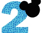 Mickey applique with birthday - age number- iron on DIY