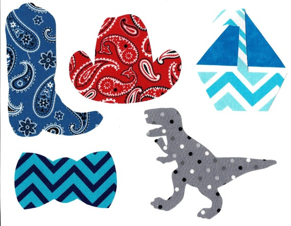 Iron on baby boy fabric appliques for baby shower, DIY cowboy hat and ...