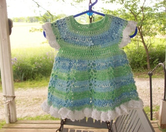 Newborn-3 Months,Dress,Crocheted,Blues,Greens,Baby,Gift,Photo,Girls,Infants