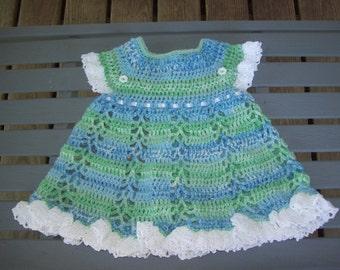 Dress,Crocheted,Baby,Girl,Girls,Photo,Infants,Gift,Blue,Green,White,Newborn,Three Months