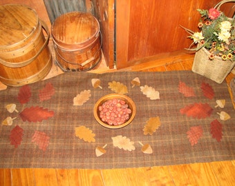Goos Nest Falling Leaves and Acorns Wool Applique Pattern