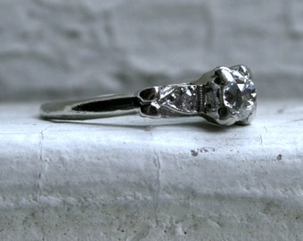 Sweet Art Deco Vintage 14K White Gold Diamond Engagement Ring - 0.41ct.