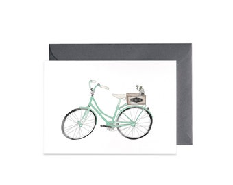 Vintage Bike Illustrated Greeting Card