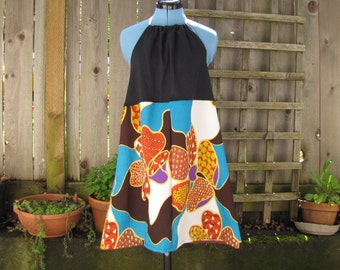 Funky Floral Open Back Dress/ Eco Halter Tie Dress Summer Festival Dresses Gear Beach Cover Up Upcycled Vintage Plus Size