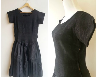 1940s dress, 40s black dress, vintage formal dress, size small