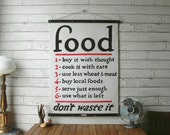Vintage Food Pull Down Chart Reproduction with Canvas Print and Oak Wood Poster and Brass Hanger / WPA Food Chart