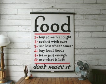 Food Chart / Vintage Reproduction / Canvas Fabric or Paper Print / Oak Wood Hanger with Brass Hardware / Organic Milk Paint & Wax Finish