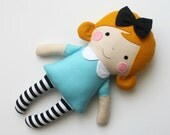 Mini Alice in Wonderland doll - Small rag doll - Gift idea for toddlers - Miniature dolls - Fabric doll - Stuffed toy