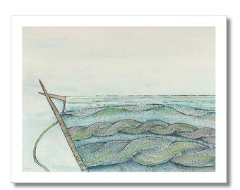 knitted cable seascape watercolor print