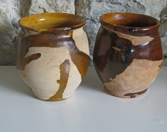 Antique French confit pots - pair of terracotta pots for confit de canard