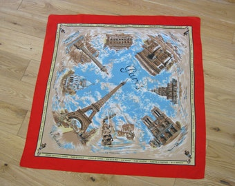 French souvenir scarf with Eiffel Tower and Paris landmarks