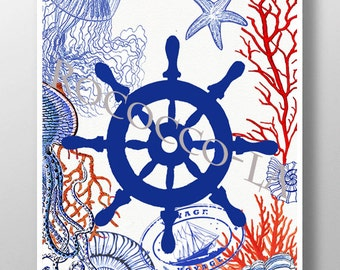 Nautical print poster, Sea life, Ship Wheel Mixed media Decorative art painting drawing illustration POSTER - Rococco-LA print