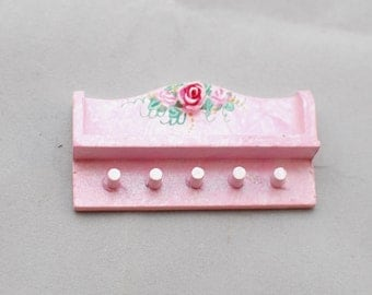 PINK Cottage Chic Small Collectible Display Shelf 3D Roses 1:12 Dollhouse Miniature Hand-Painted Victorian