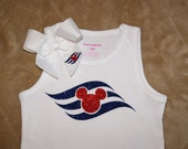 Disney Cruise Line Logo Glitter Vinyl Shirt and Bow