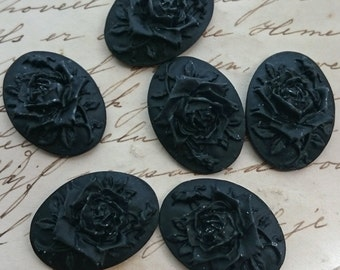 6 unset Rose Cameo - Black Gothic Goth - 25x18mm - Rose Flower Black Gothic Cameo Cabs Cabochon