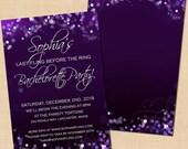 Purple Night Sky Text-Editable Bachelorette Party Invitation: 4 x 6 - Instant Download