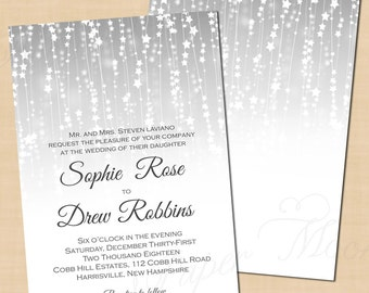 Silver Star Streamers Wedding Invitation: 5 x 7 - Text-Editable, Printable Instant Download