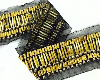 1 YARD of Black Mesh Trim Ribbon with Gold Beads