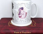"Jane Austen Emma Mug,  ""I cannot make speeches Emma... If I loved you less..."" Book Mug, Literary  Quote, UK"