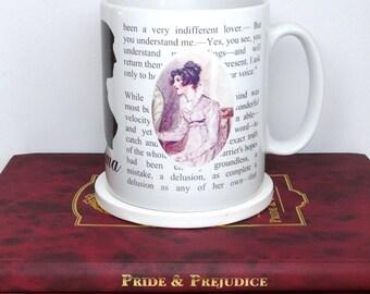 """Jane Austen Emma Mug,  """"I cannot make speeches Emma... If I loved you less..."""" Book Mug, Literary  Quote, UK"""