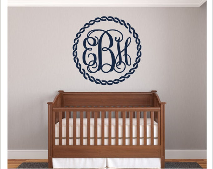 Monogram Wall Decal Rope Border Decal Nautical Rope Wall Decal Monogram Wall Decal Beach Decal Nursery Decal Bedroom Wall Decal Personalized