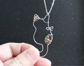Three Colored Cat Necklace - Sterling Silver Cat Pendant Necklace, Cat Necklace, Crystal beads Necklace