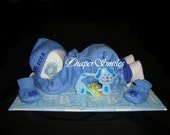 "Baby Boy Diaper Baby 19"" inches Long Diaper Cake"