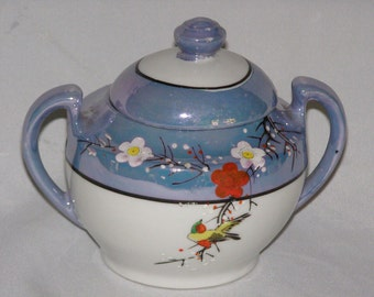 Exquisite Sugar Bowl in Lustreware or condiment Hand-painted with Delicate Floral Pattern and Bird on branches
