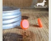 CLEARANCE! Orange 'Ya Glad. Post Earrings -- (Bright, Orange Earrings, Simple, Small, Cute, Vintage-Style, Bridesmaid Jewelry, Gift Under 5)
