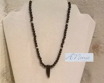 """Men's / Man's Necklace; Choker:  Jasper & 925 Sterling Silver Beads and Closure """"Strength"""""""