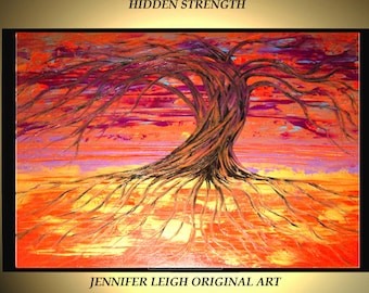 """Original Large Abstract Painting Modern Acrylic Oil Painting Canvas Art Orange Purple Gold Tree  36x24"""" Palette Knife Textured  J.LEIGH"""