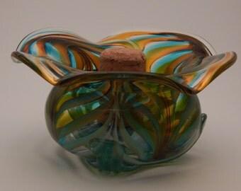 Aqua Saffron with Jade Iris flower pipe safe ashtray