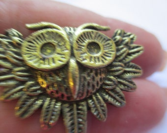 Vintage Jewelry owl Ring Adjustable silver toned  no markings