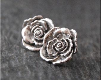 Rose in Bloom Earrings. Sterling Silver Rose Post Earrings, Botanical Earrings, Handmade sterling silver post earrings, Fower earrings