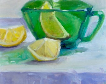A bit of lemon, original still life oil painting.