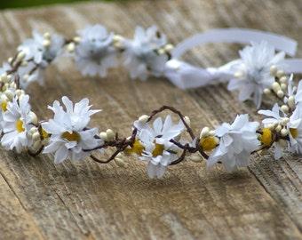 Boho crown Daisy flower Pip , wedding headpiece, woodland flower, bridal hair flower, rustic wedding, bridal headband head garland