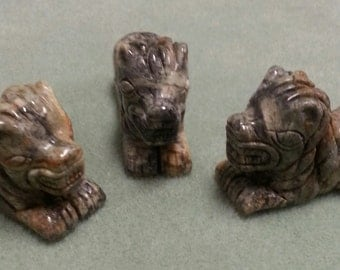 Carved Serpentine from California Lions Set of 3