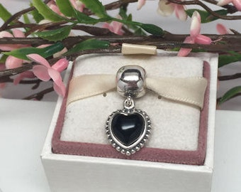 Authentic Retired Pandora Bracelet Clip Charm MI AMOR Black Onyx With Original BOX
