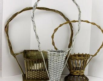 Vintage Large WIcker Funeral Basket    Collection Primitive Hoop Baskets Pick a Basket Primitive French Basket