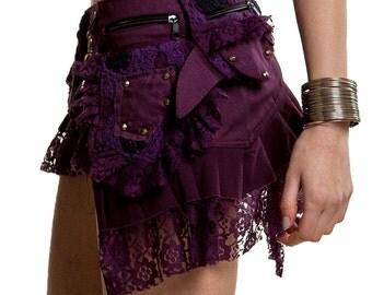 STEAMPUNK skirt - Assorted colours, psytrance skirt, PIXIE SKIRT, ethnic skirt, goa Skirt, Elf Mini Skirt, MfskuL