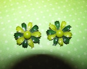 Vintage Silver Tone Two Shades Of Green Enamel Flower Clip On Earrings