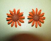 Vintage Rust Orange With Brown Center Enamel Flower Clip On Earrings