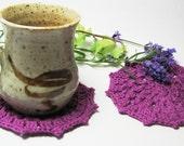 Purple Crochet Coaster Glass Coaster Crochet Doily Large size