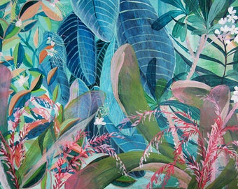 Blue Jungle - illustration - giclee print