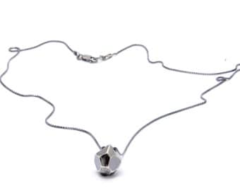 faceted necklace // sterling silver with oxidized chain
