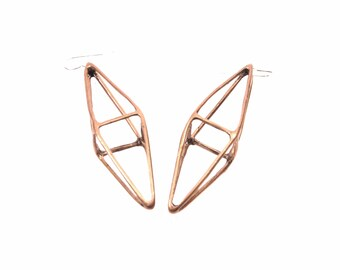 octahedron earrings // oxidized bronze