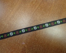 """Vintage (1970s) 3/8"""" Wide Embroidered Trim, Red and White Flowers on Black Background, 1 Yd"""