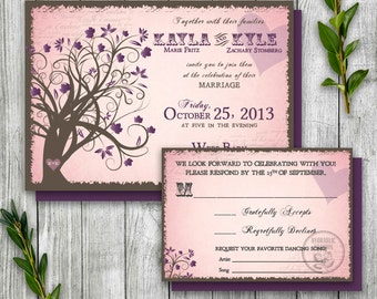 Enchanted Forest Fall Invitation and RSVP, Printable Wedding Invitation, Halloween Wedding Invitation, Fall Tree Wedding Invitation