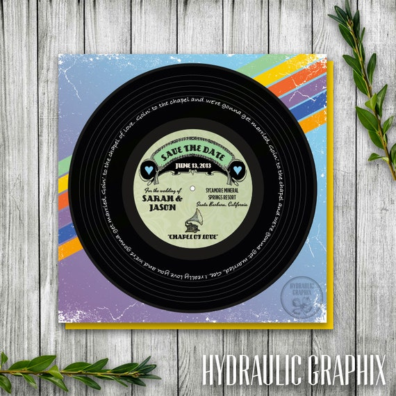 Vinyl music record printable save the date wedding invitation or il570xn stopboris Images