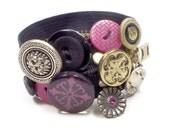 Button Zipper Cuff Bracelet Black Pink Compass Rose Vintage Silver Gem Charm
